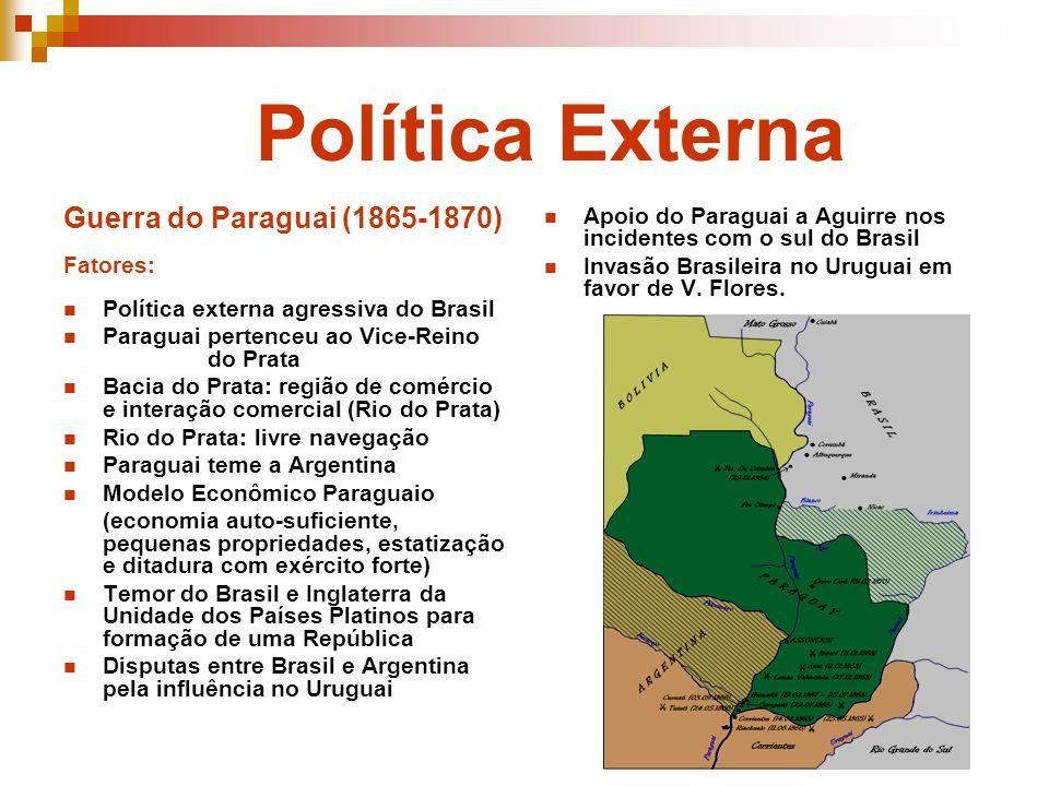 Política Externa Guerra do Paraguai (1865-1870) Fatores: