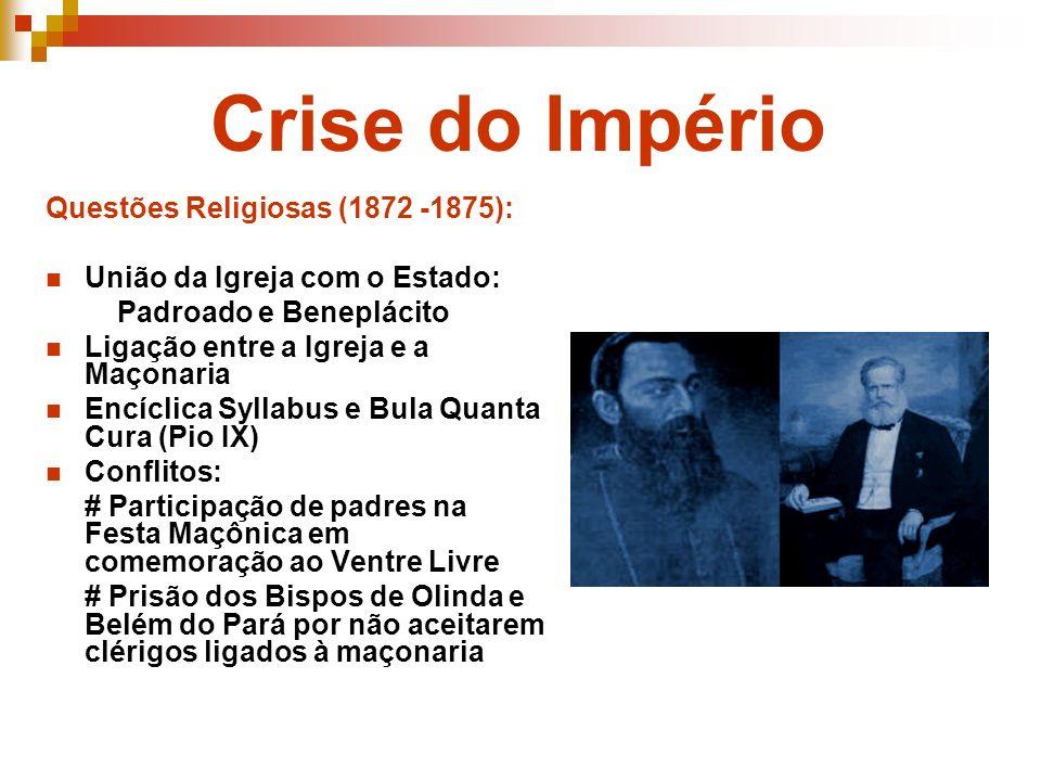 Crise do Império Questões Religiosas (1872 -1875):