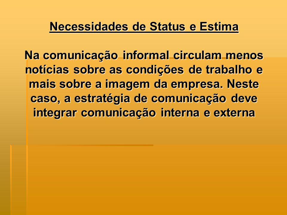Necessidades de Status e Estima Na comunicação informal circulam menos notícias sobre as condições de trabalho e mais sobre a imagem da empresa.