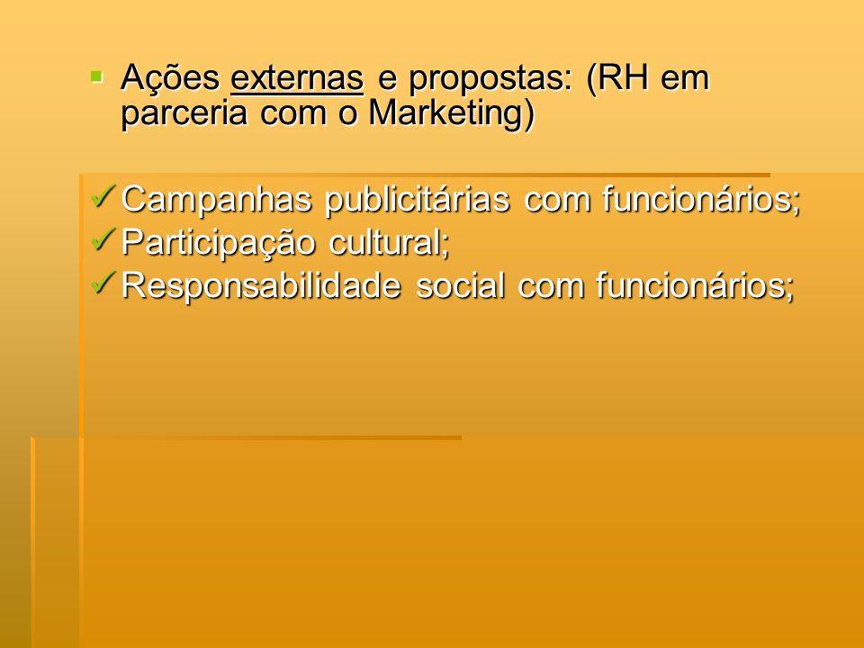 Ações externas e propostas: (RH em parceria com o Marketing)