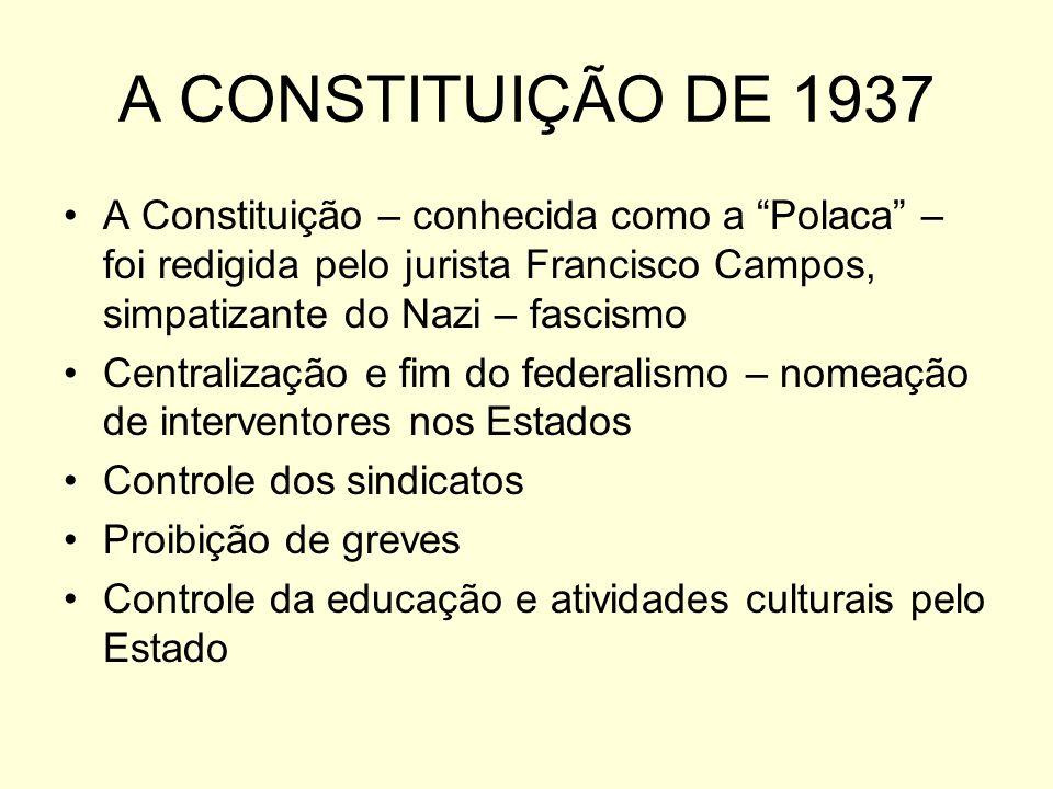 A CONSTITUIÇÃO DE 1937 A Constituição – conhecida como a Polaca – foi redigida pelo jurista Francisco Campos, simpatizante do Nazi – fascismo.