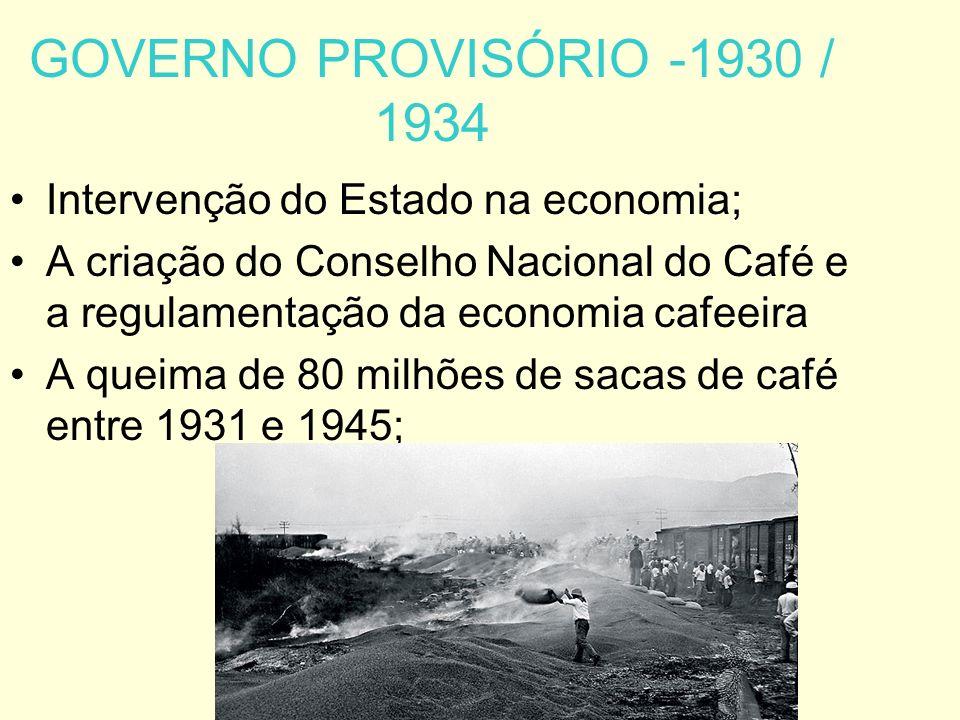 GOVERNO PROVISÓRIO -1930 / 1934 Intervenção do Estado na economia;