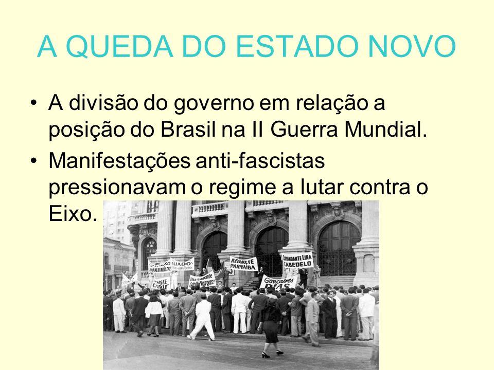A QUEDA DO ESTADO NOVO A divisão do governo em relação a posição do Brasil na II Guerra Mundial.