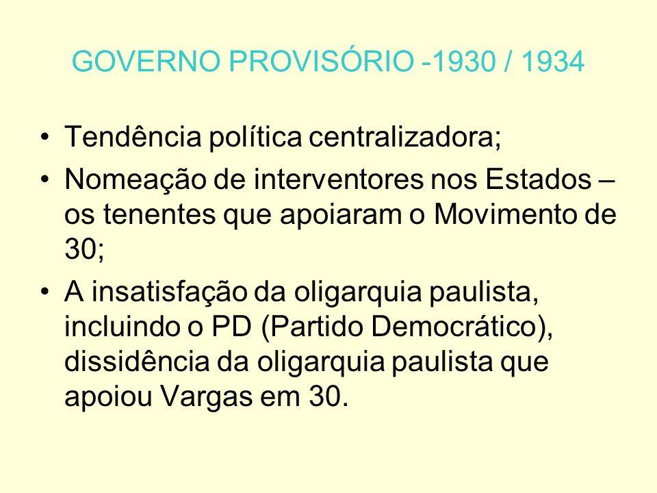 GOVERNO PROVISÓRIO -1930 / 1934 Tendência política centralizadora;