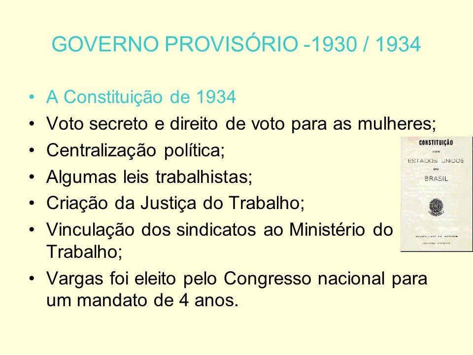 GOVERNO PROVISÓRIO -1930 / 1934 A Constituição de 1934