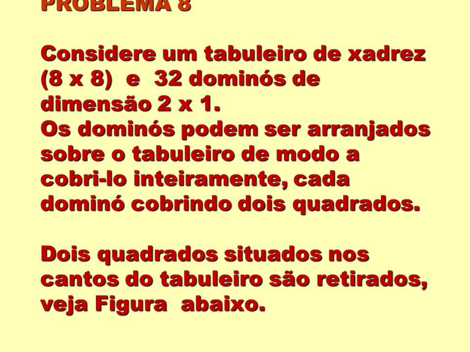 PROBLEMA 8 Considere um tabuleiro de xadrez (8 x 8) e 32 dominós de dimensão 2 x 1.