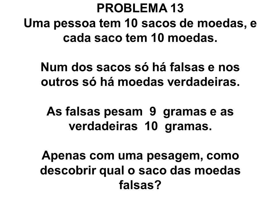 PROBLEMA 13 Uma pessoa tem 10 sacos de moedas, e cada saco tem 10 moedas.