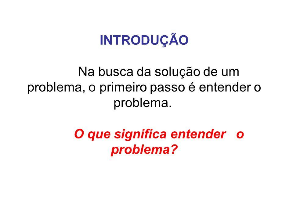 INTRODUÇÃO Na busca da solução de um problema, o primeiro passo é entender o problema. O que significa entender o problema