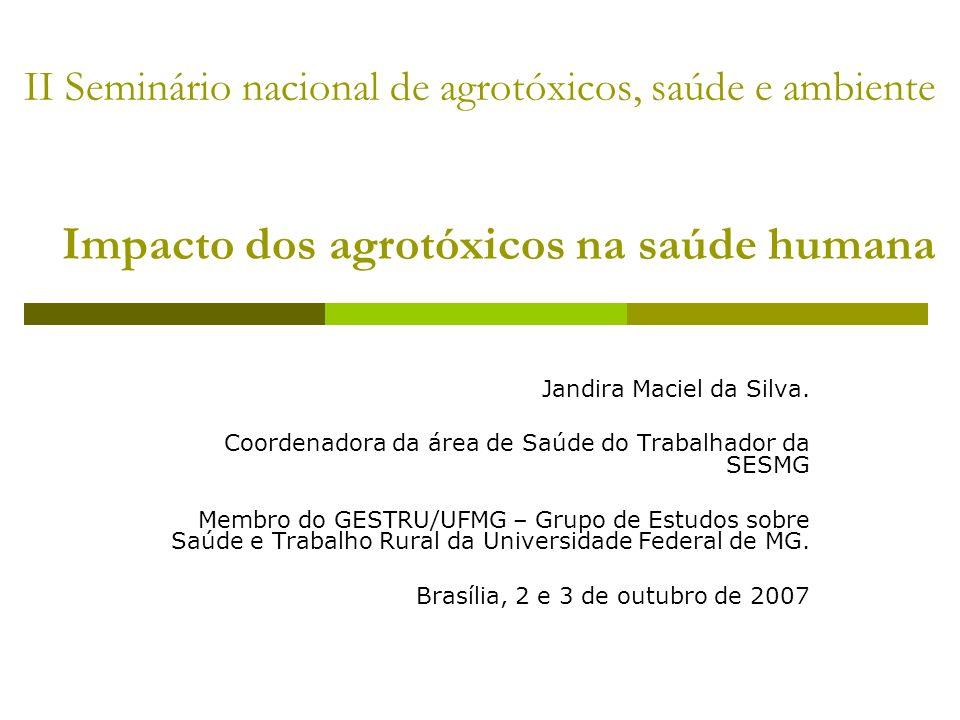 II Seminário nacional de agrotóxicos, saúde e ambiente Impacto dos agrotóxicos na saúde humana