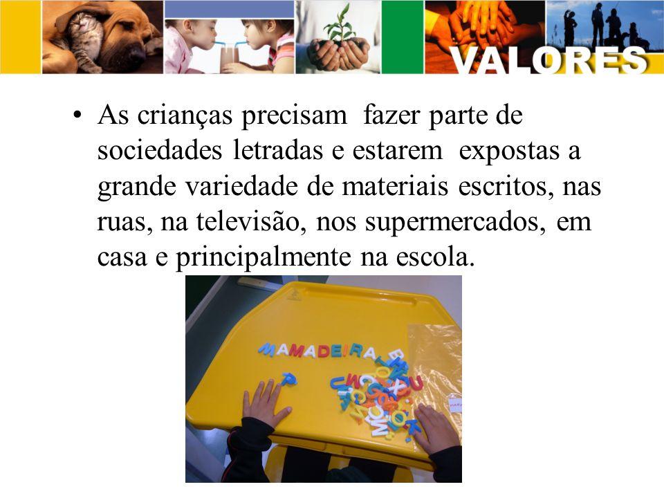 As crianças precisam fazer parte de sociedades letradas e estarem expostas a grande variedade de materiais escritos, nas ruas, na televisão, nos supermercados, em casa e principalmente na escola.
