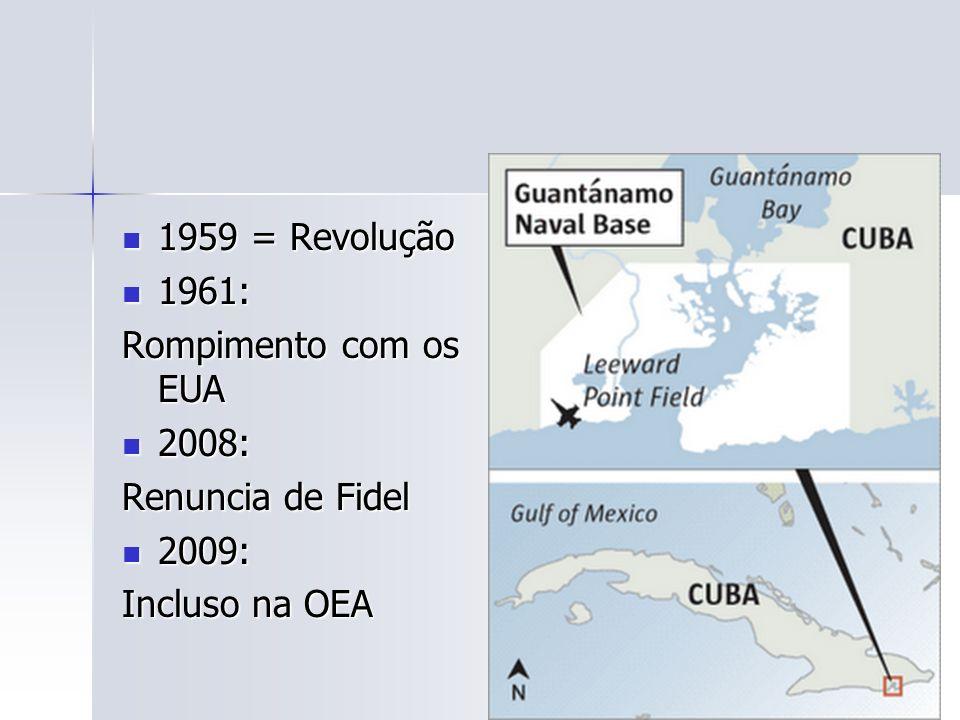 1959 = Revolução 1961: Rompimento com os EUA 2008: Renuncia de Fidel 2009: Incluso na OEA