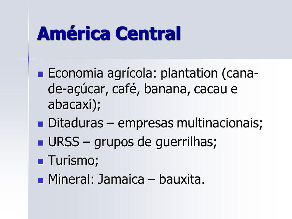 América Central Economia agrícola: plantation (cana-de-açúcar, café, banana, cacau e abacaxi); Ditaduras – empresas multinacionais;