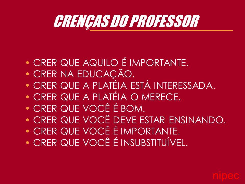 CRENÇAS DO PROFESSOR nipec CRER QUE AQUILO É IMPORTANTE.