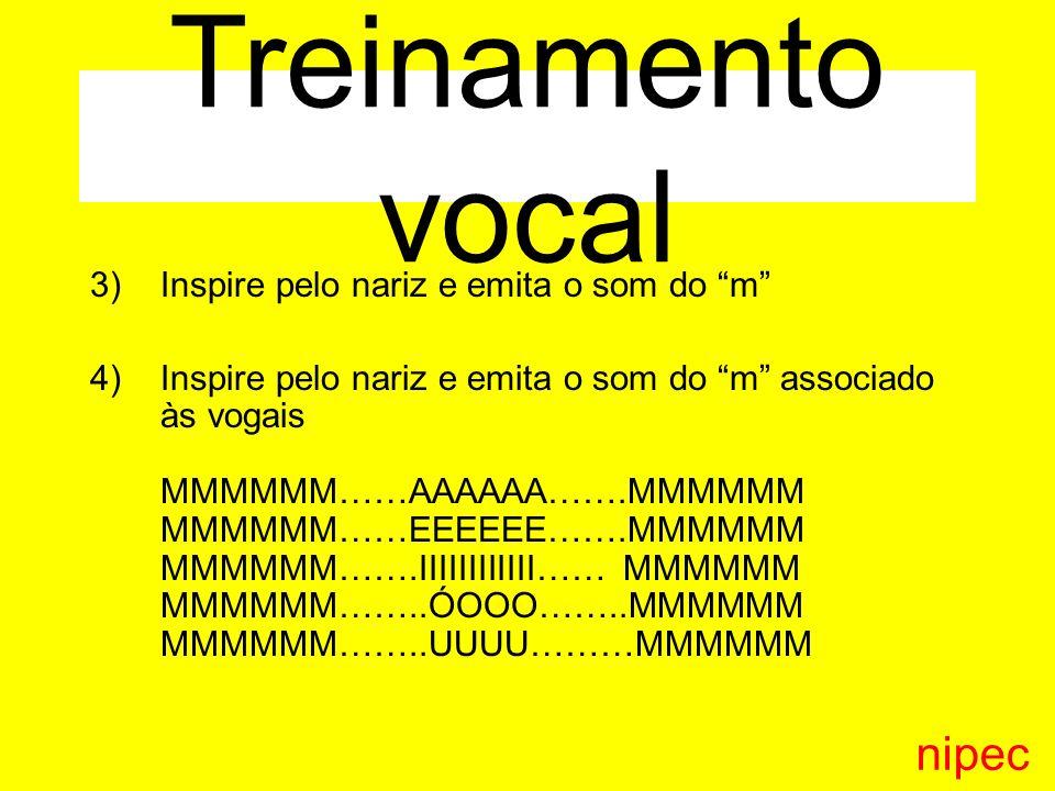Treinamento vocal nipec Inspire pelo nariz e emita o som do m