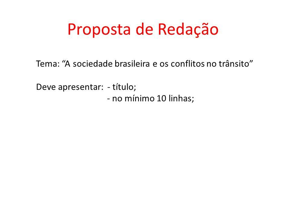 Proposta de Redação Tema: A sociedade brasileira e os conflitos no trânsito Deve apresentar: - título;