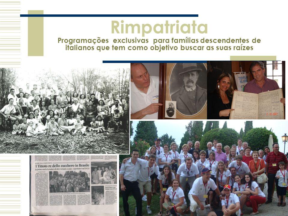 Rimpatriata Programações exclusivas para famílias descendentes de italianos que tem como objetivo buscar as suas raízes
