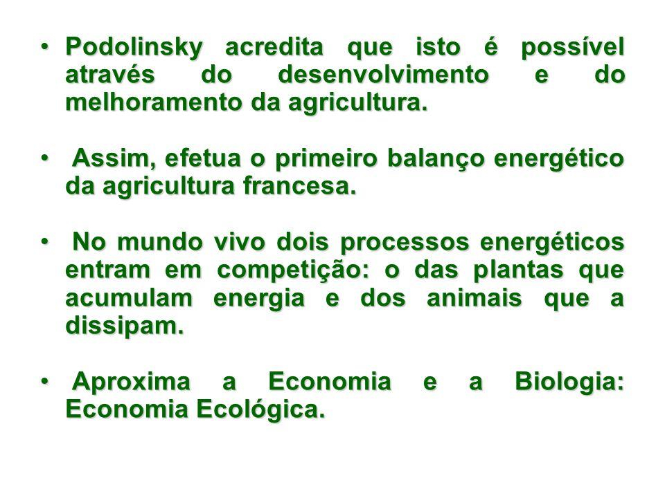 Podolinsky acredita que isto é possível através do desenvolvimento e do melhoramento da agricultura.
