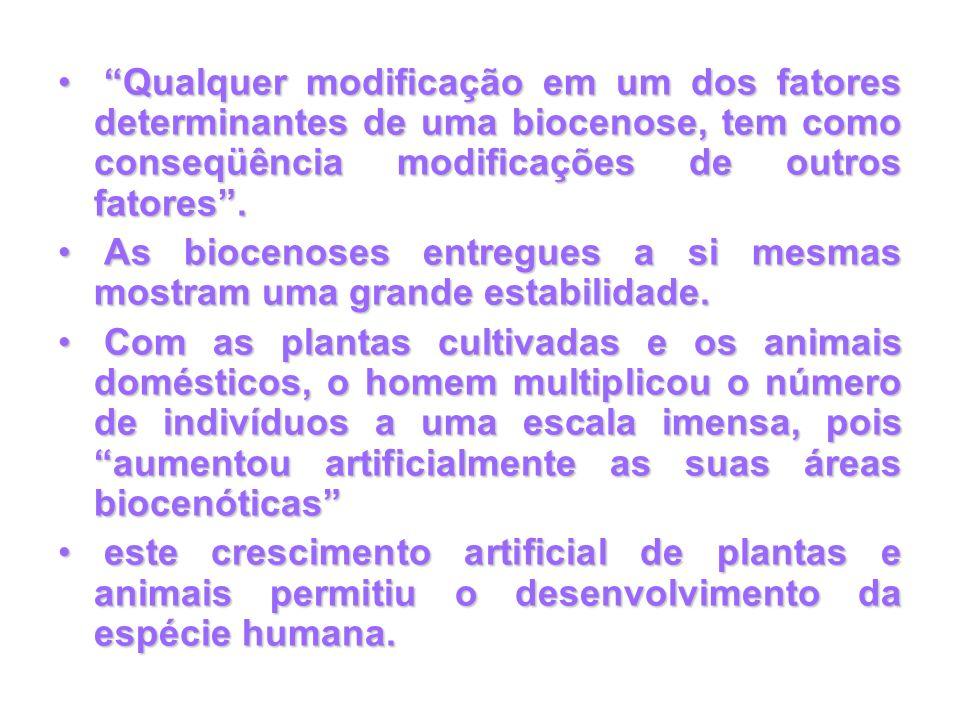 Qualquer modificação em um dos fatores determinantes de uma biocenose, tem como conseqüência modificações de outros fatores .