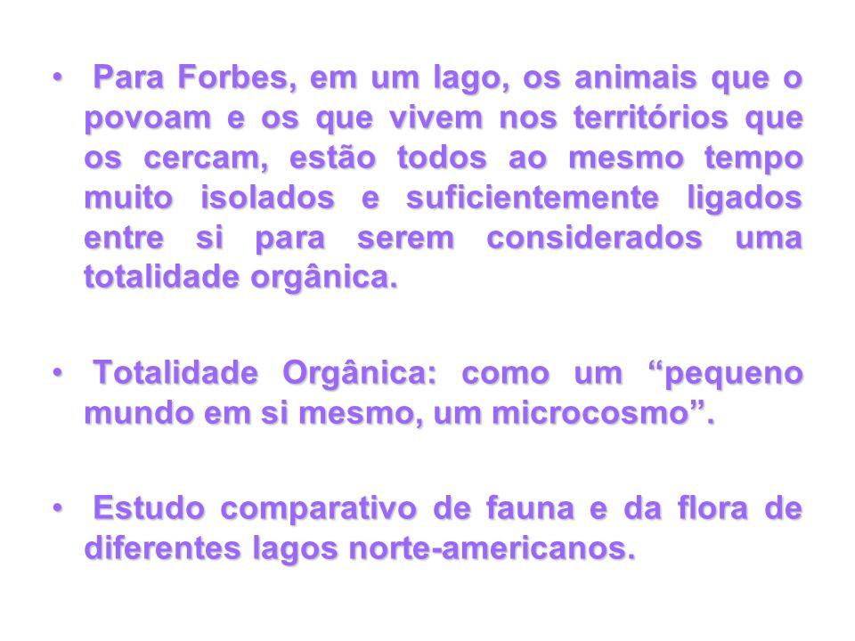 Para Forbes, em um lago, os animais que o povoam e os que vivem nos territórios que os cercam, estão todos ao mesmo tempo muito isolados e suficientemente ligados entre si para serem considerados uma totalidade orgânica.