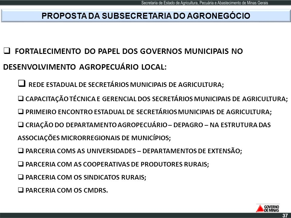 PROPOSTA DA SUBSECRETARIA DO AGRONEGÓCIO