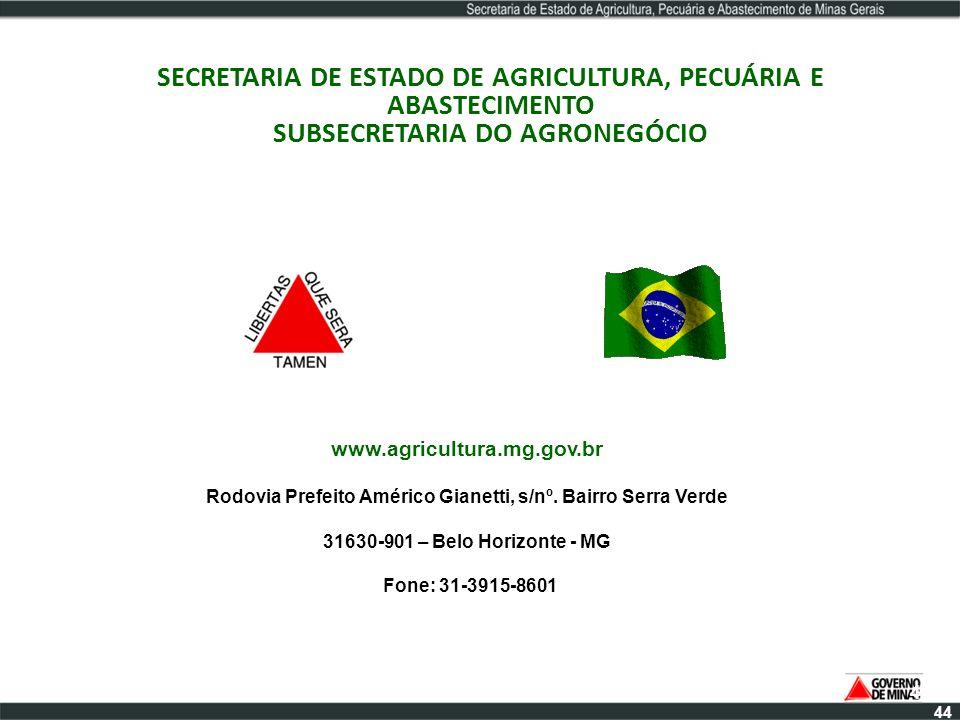 SECRETARIA DE ESTADO DE AGRICULTURA, PECUÁRIA E ABASTECIMENTO