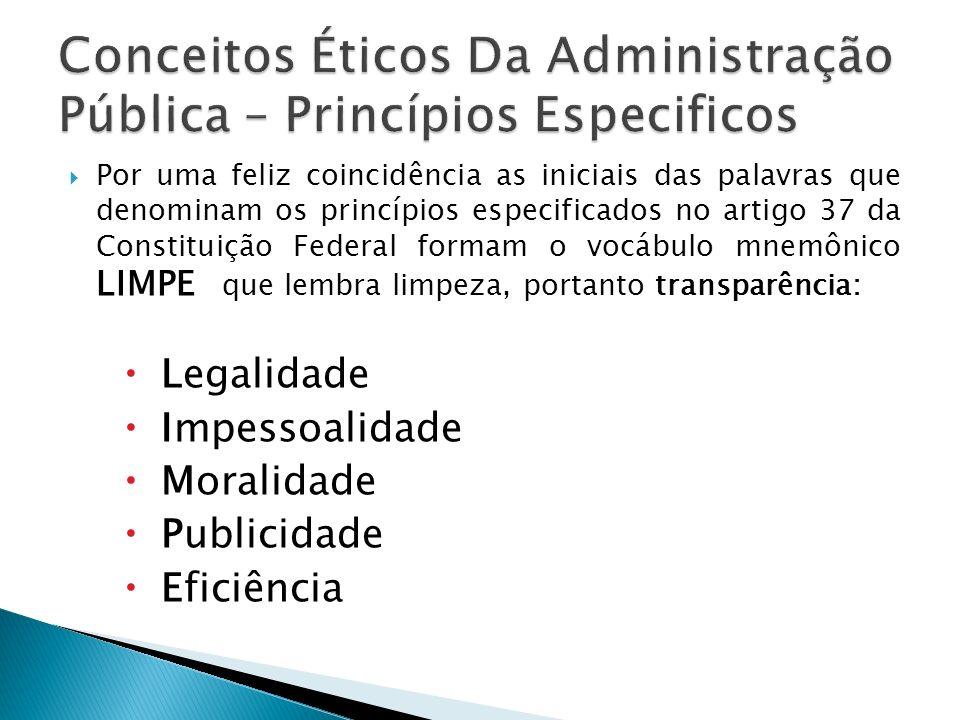 Conceitos Éticos Da Administração Pública – Princípios Especificos