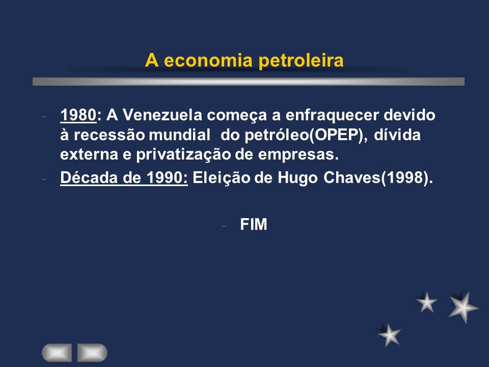 A economia petroleira 1980: A Venezuela começa a enfraquecer devido à recessão mundial do petróleo(OPEP), dívida externa e privatização de empresas.