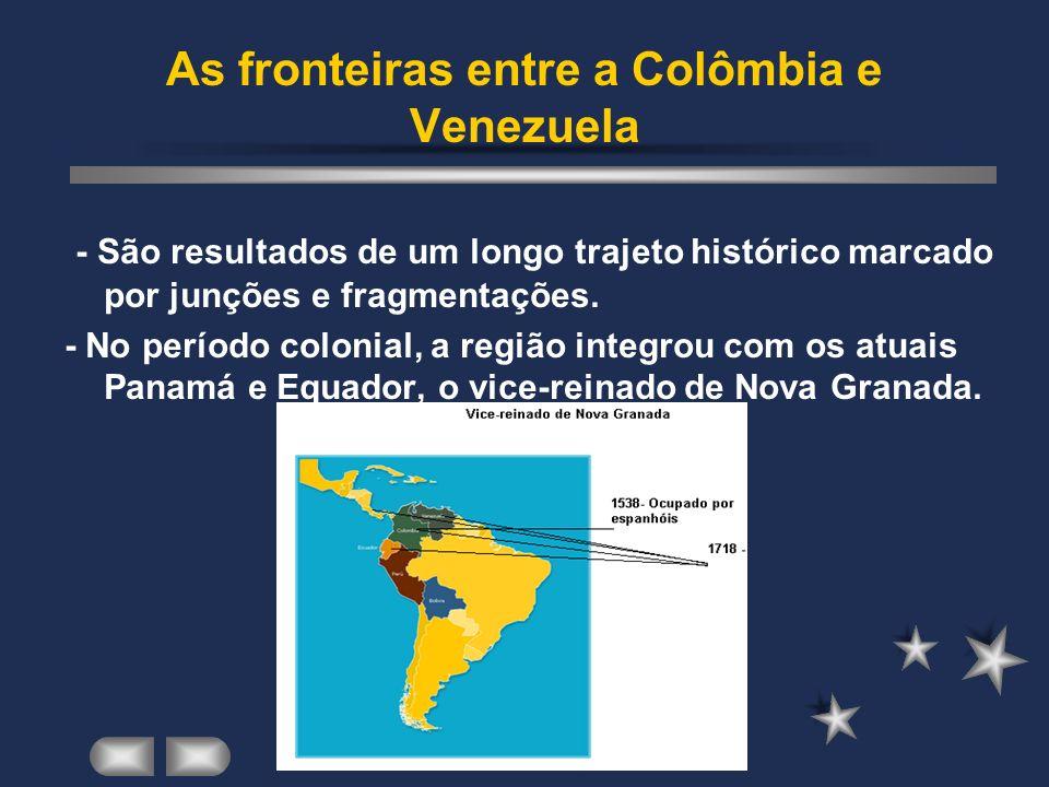 As fronteiras entre a Colômbia e Venezuela