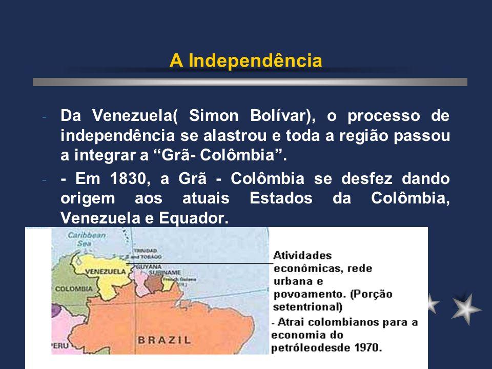 A Independência Da Venezuela( Simon Bolívar), o processo de independência se alastrou e toda a região passou a integrar a Grã- Colômbia .