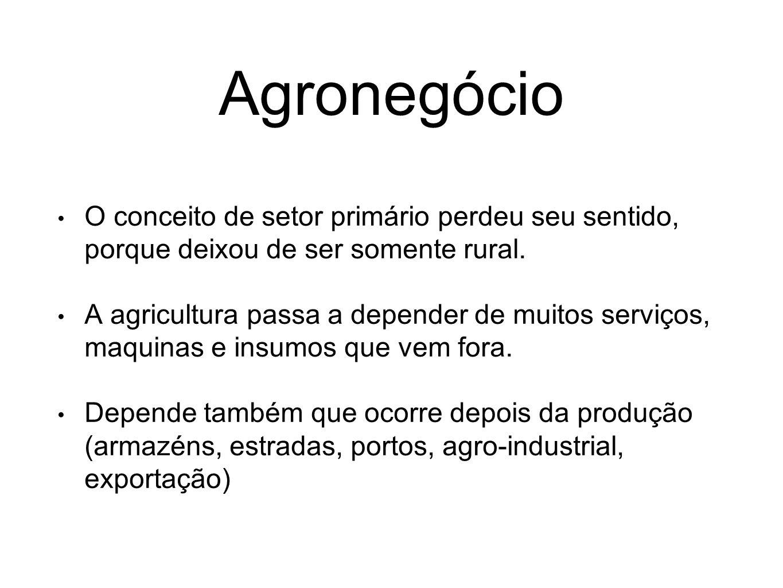 Agronegócio O conceito de setor primário perdeu seu sentido, porque deixou de ser somente rural.