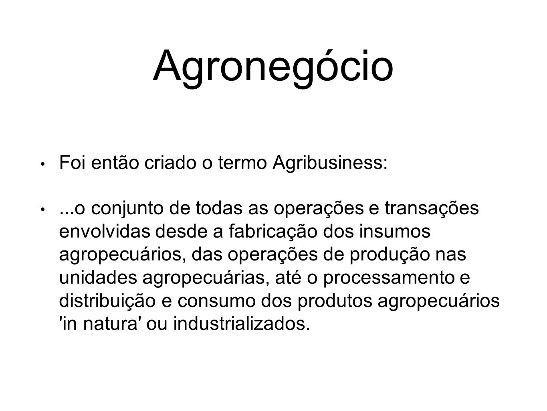 Agronegócio Foi então criado o termo Agribusiness: