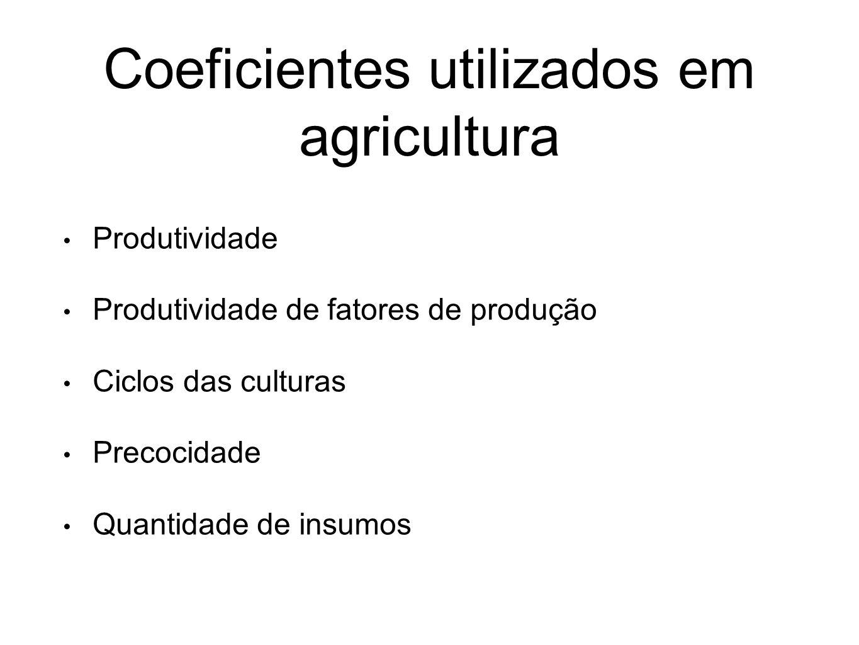 Coeficientes utilizados em agricultura