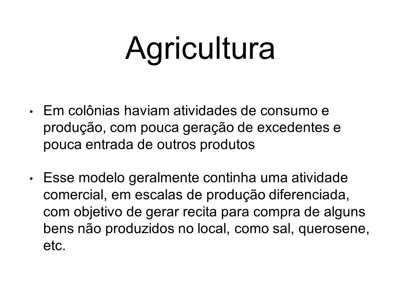 Agricultura Em colônias haviam atividades de consumo e produção, com pouca geração de excedentes e pouca entrada de outros produtos.