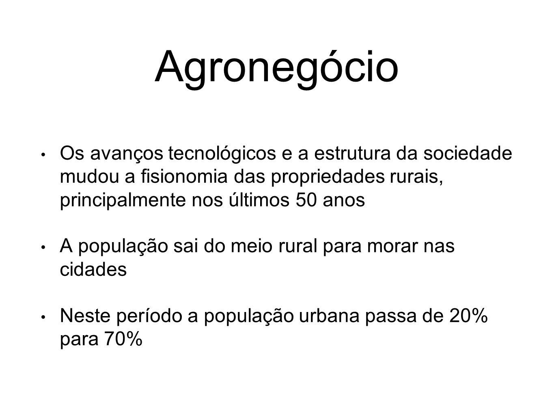 Agronegócio Os avanços tecnológicos e a estrutura da sociedade mudou a fisionomia das propriedades rurais, principalmente nos últimos 50 anos.