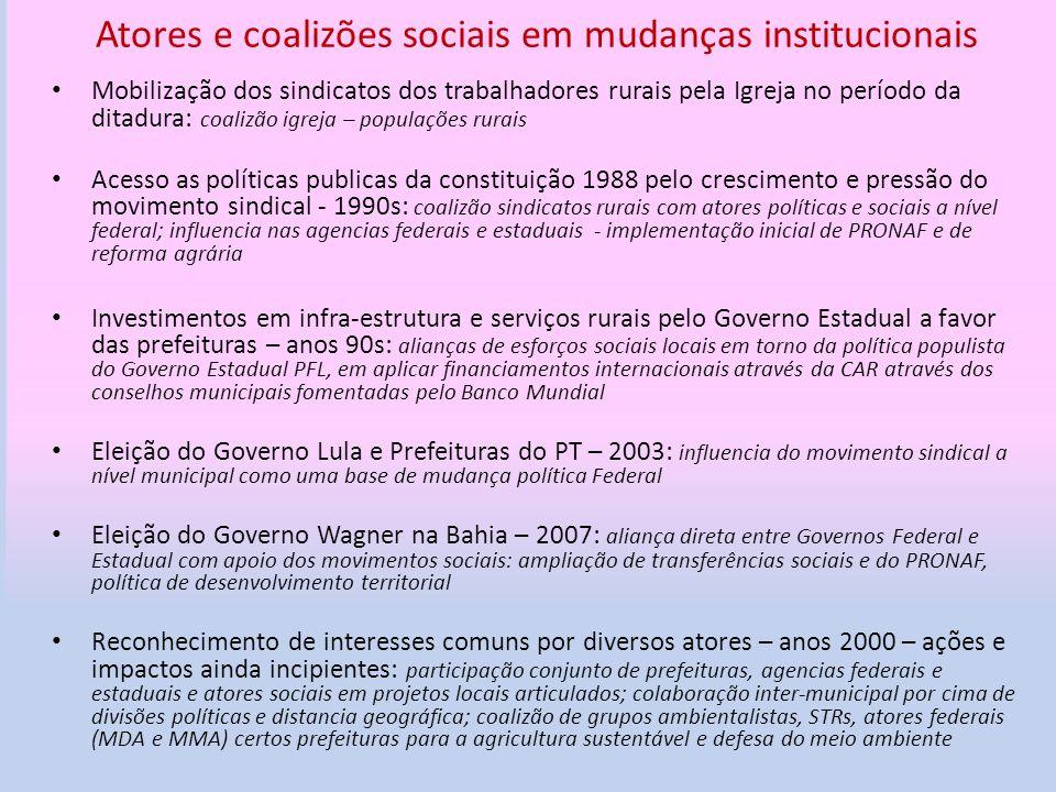 Atores e coalizões sociais em mudanças institucionais