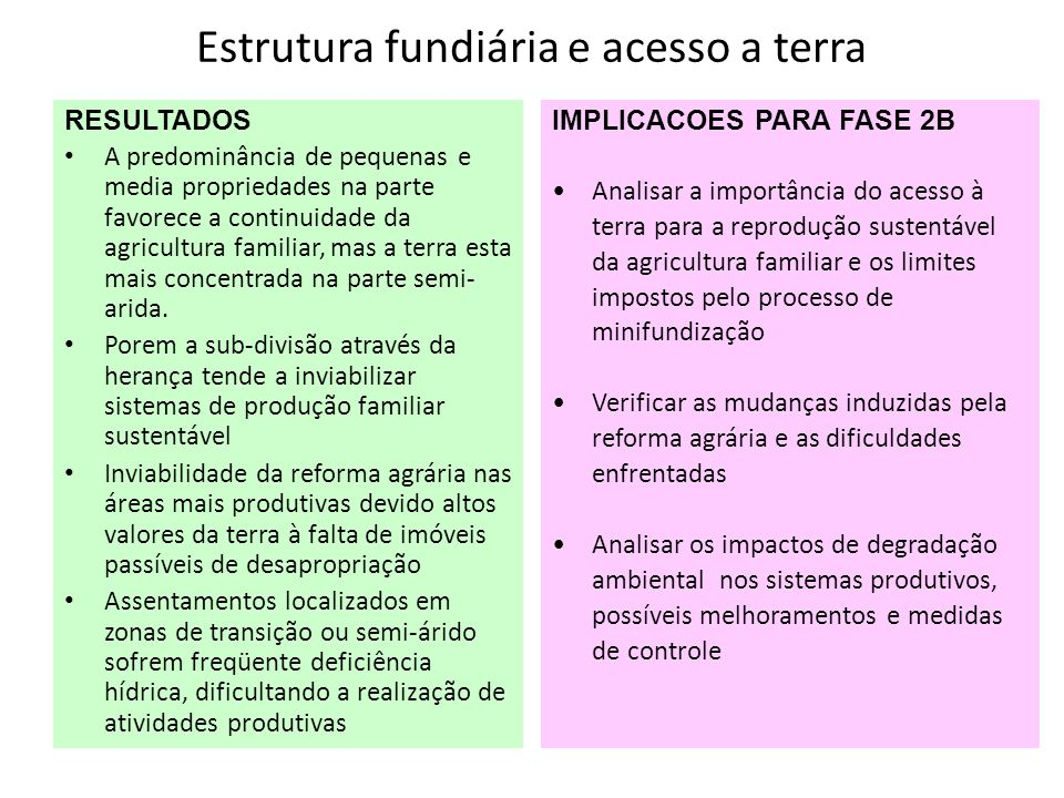 Estrutura fundiária e acesso a terra