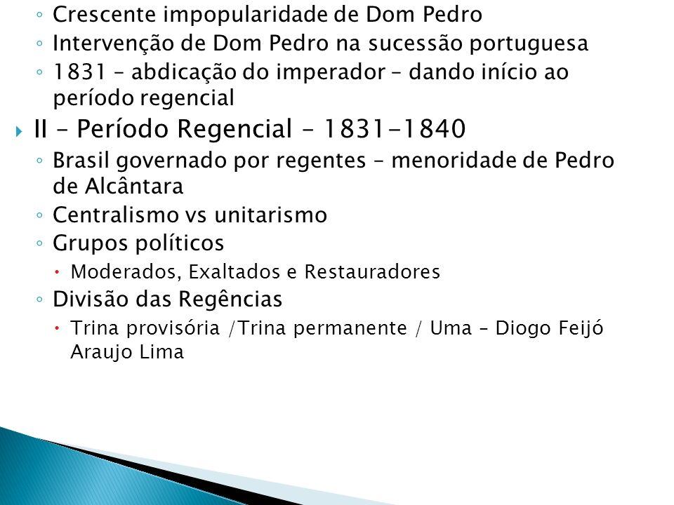 II – Período Regencial – 1831-1840