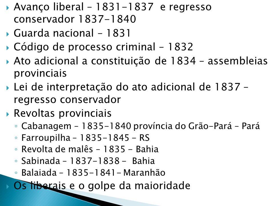Avanço liberal – 1831-1837 e regresso conservador 1837-1840
