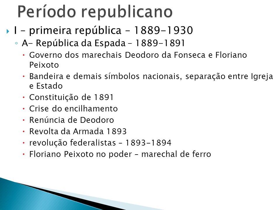 Período republicano I – primeira república – 1889-1930