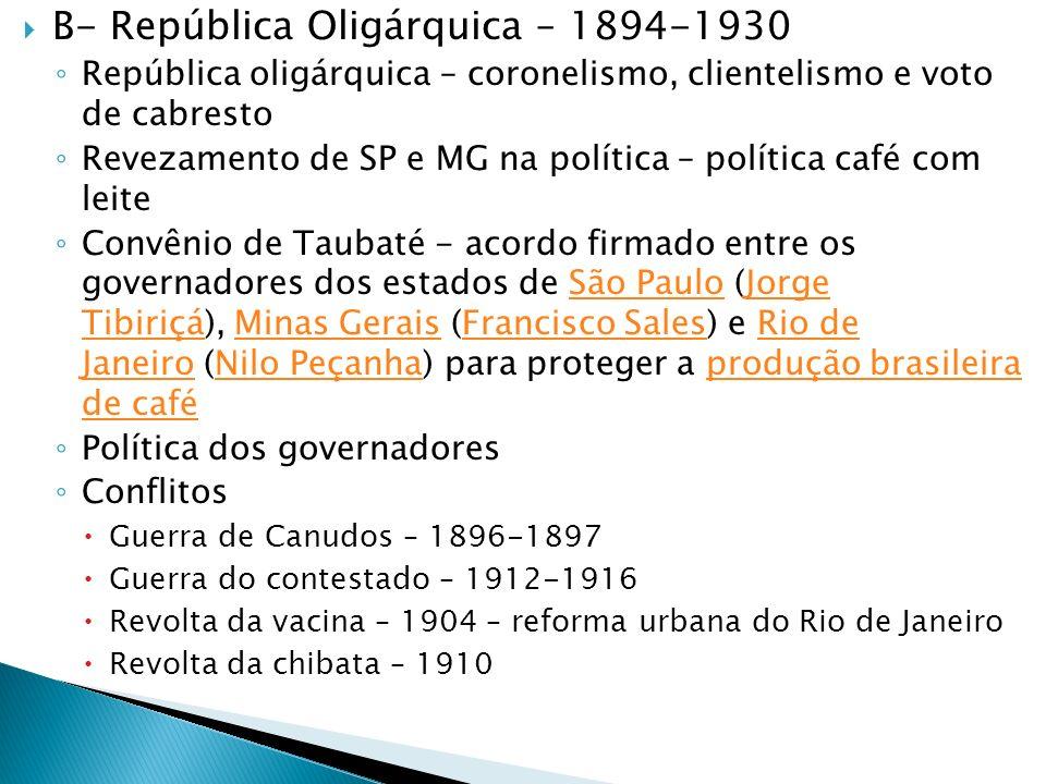B- República Oligárquica – 1894-1930