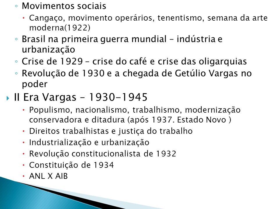 II Era Vargas – 1930-1945 Movimentos sociais
