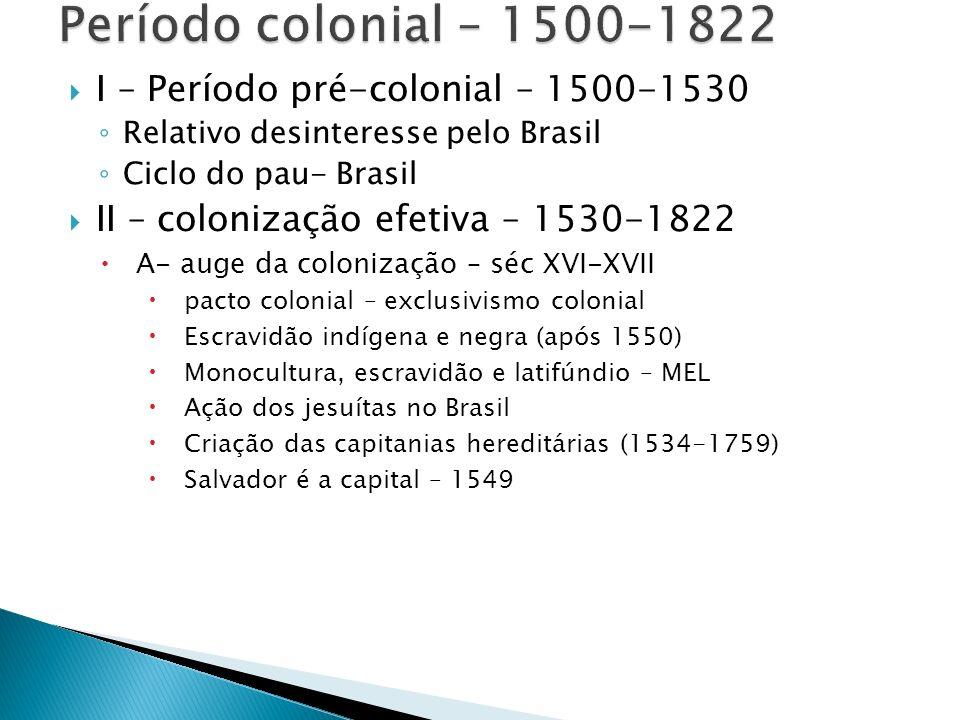 Período colonial – 1500-1822 I – Período pré-colonial – 1500-1530