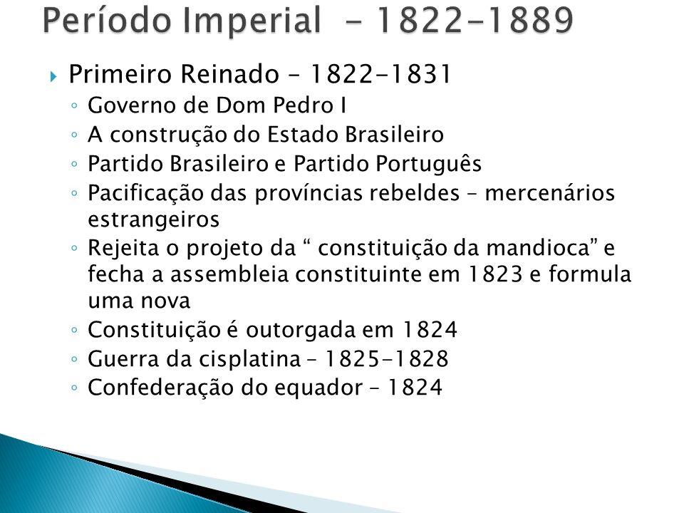 Período Imperial - 1822-1889 Primeiro Reinado – 1822-1831