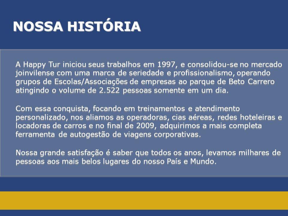 NOSSA HISTÓRIA A Happy Tur iniciou seus trabalhos em 1997, e consolidou-se no mercado.