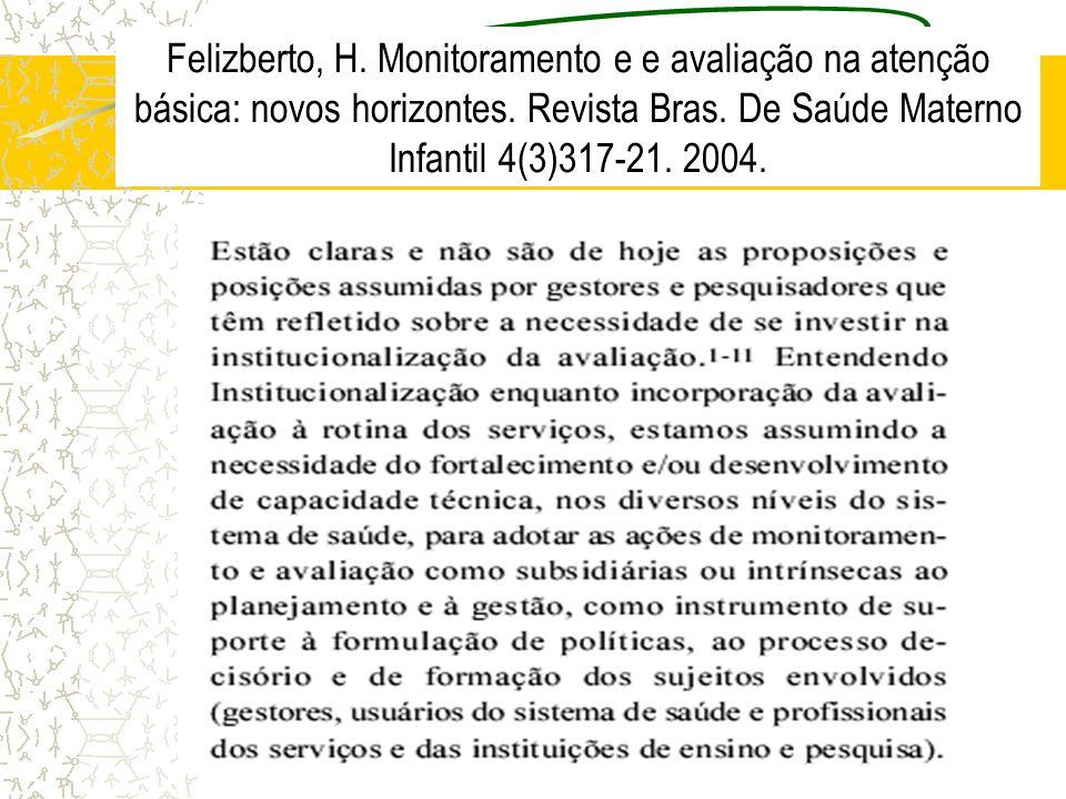 Felizberto, H. Monitoramento e e avaliação na atenção básica: novos horizontes.