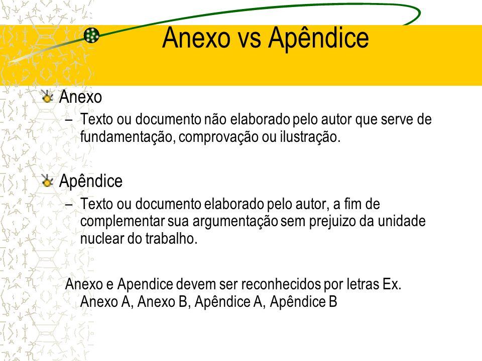 Anexo vs Apêndice Anexo Apêndice