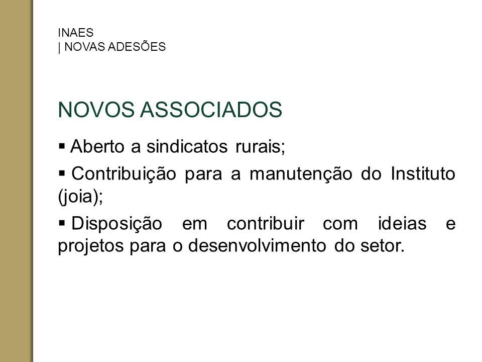 NOVOS ASSOCIADOS Aberto a sindicatos rurais;