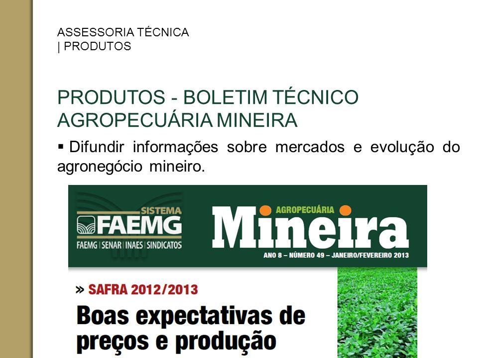 PRODUTOS - BOLETIM TÉCNICO AGROPECUÁRIA MINEIRA