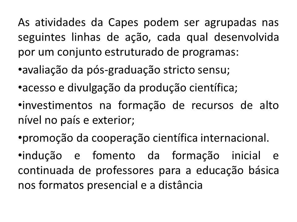As atividades da Capes podem ser agrupadas nas seguintes linhas de ação, cada qual desenvolvida por um conjunto estruturado de programas: