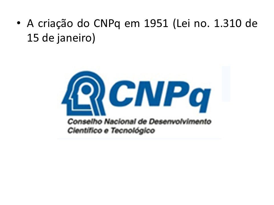 A criação do CNPq em 1951 (Lei no. 1.310 de 15 de janeiro)